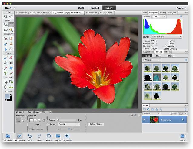 Как изменить выделение в Photoshop Elements